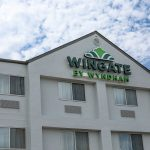 Wingate by Wyndham sign on the exterior of the hotel